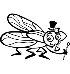 housefly cartoon for coloring book vector image