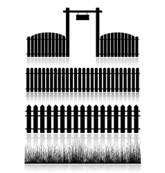 Set of fences gate and grass vector