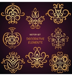 Golden decorative elements vector