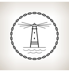 Silhouette lighthouse on a light background vector
