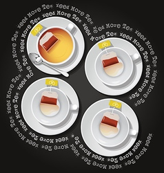 Cups of tea with tea bag vector