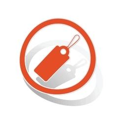 String tag sign sticker orange vector