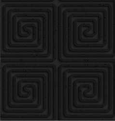 Textured black plastic square spirals reflected vector