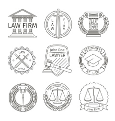 Juridical and legal logo elements in line style vector
