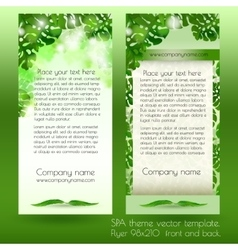 Card design template with green exotic leaves vector