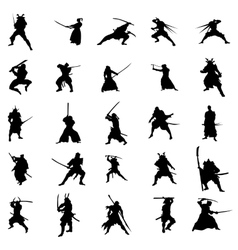Samurai warriors silhouette set vector image