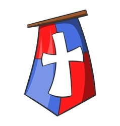 Red and blue medieval banner flag with cross icon vector