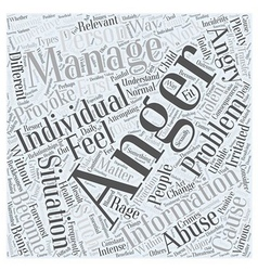 Anger management information word cloud concept vector