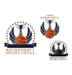 Basketball sporting emblems with game items vector