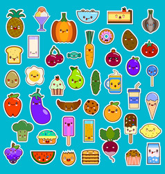 big set of kawaii character funny cartoon food vector image vector image