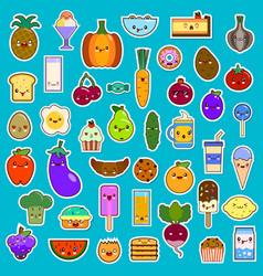big set of kawaii character funny cartoon food vector image