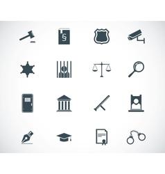 Black justice icons set vector