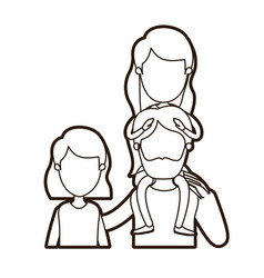 black thick contour caricature faceless front view vector image vector image
