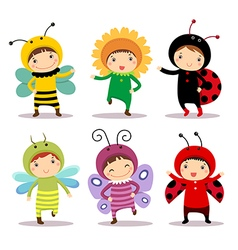 Cute kids wearing insect and flower costumes vector