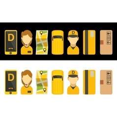 Delivery service set icon isolated flat vector