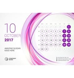 Desk calendar for 2017 year october week starts vector