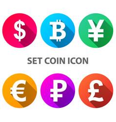 dollar bitcoin yen euro ruble pound icon vector image