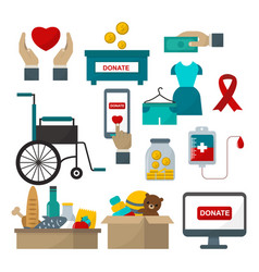 Donate help symbols vector