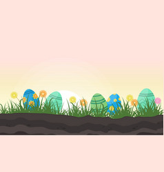 Easter egg lined on hill vector