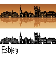 Esbjerg skyline in orange vector image