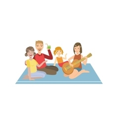 Family on picnic with guitar vector