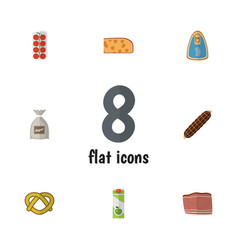 Flat icon food set of canned chicken cookie vector