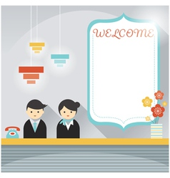 Male and female hotel receptionist frame element vector