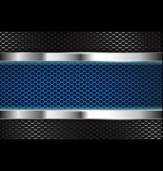 metal background with blue perforated banner vector image