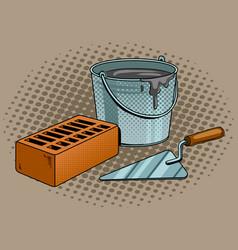 mortar brick trowel pop art vector image vector image