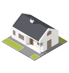 One-storey house with slant roof isometric icon vector image