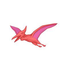 Pink pterodactyl in flying action cartoon vector