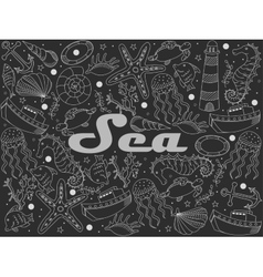 Sea line art design chalky vector