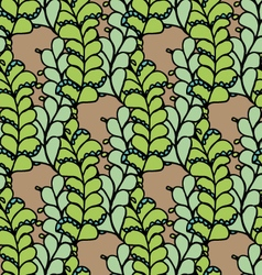 Seamless pattern with green floral elements vector