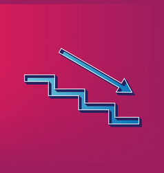 Stair down with arrow blue 3d printed vector