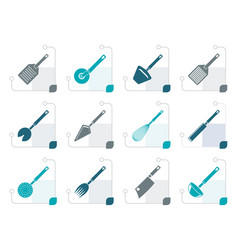 Stylized different kind of kitchen accessories vector