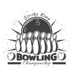 Vintage bowling club template vector