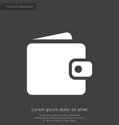 Wallet premium icon white on dark background vector