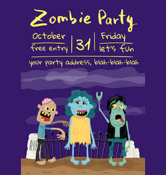zombie party poster with monster group in cemetery vector image vector image