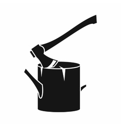 Axe stuck in a tree stump icon simple style vector