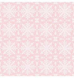 Pink christmas background with seamless pattern vector