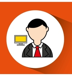 man bearded pc computer icon vector image