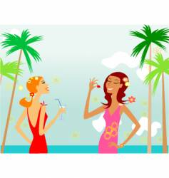 girls on beach vector image