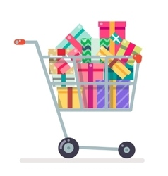 Shopping cart purchase gift flat design character vector image
