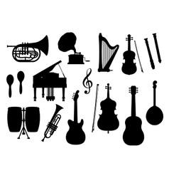 Musical instruments silhouette icons vector