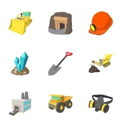 Coal icons set cartoon style vector
