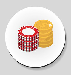 money and chips stack sticker icon flat style vector image