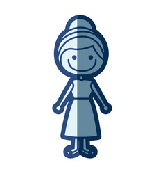 blue silhouette of caricature girl with collected vector image