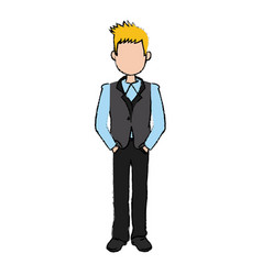 business man cartoon standing people employee vector image