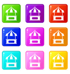 Store kiosk with striped awning icons 9 set vector