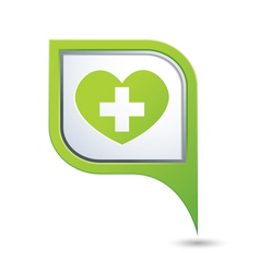 Medical icon on green map pointer vector